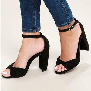 Lulu's | NWT Carly Black Suede Ankle Strap Heels 7